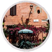 Home In The Piazza Round Beach Towel