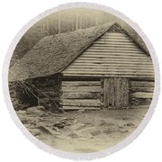 Home In The Woods Sepia Round Beach Towel