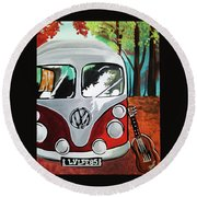 Home Is Where The Van Is Round Beach Towel