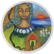 Home Is Where Your Heart Is Round Beach Towel by Prerna Poojara