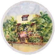 Home On Belmont Shore Round Beach Towel