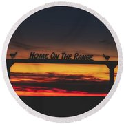 Home On The Range - Wyoming Ranch  Round Beach Towel