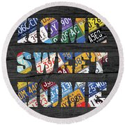 Home Sweet Home Rustic Vintage License Plate Lettering Sign Art Round Beach Towel