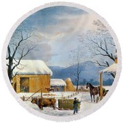 Home To Thanksgiving, 1867 Round Beach Towel