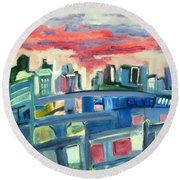 Home To The Softer Side Of City Round Beach Towel