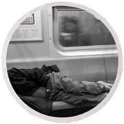 Homeless In Motion In Black And White Round Beach Towel