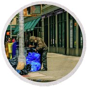 Homeless In Nyc Round Beach Towel