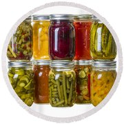 Homemade Preserves And Pickles Round Beach Towel