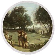 Homer And The Shepherds In A Landscape Round Beach Towel by Jean Baptiste Camille Corot