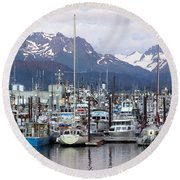 Homer Harbor Round Beach Towel