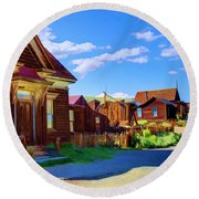 Homes Of The Past Round Beach Towel