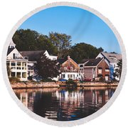 Homes On Kennebunkport Harbor Round Beach Towel
