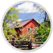 Homestead At Old World Wisconsin Round Beach Towel