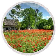 Homestead In The Poppies Round Beach Towel