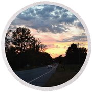 Homeward Bound Evening Sky Round Beach Towel