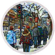 Promenade Au Centre Ville Rue Ste Catherine Montreal Winter Street Scene Small Paintings  For Sale Round Beach Towel