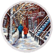 Promenade En Hiver Winter Walk Scenes D'hiver Montreal Street Scene In Winter Round Beach Towel
