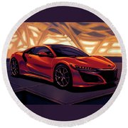 Honda Acura Nsx 2016 Mixed Media Round Beach Towel