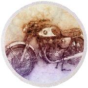 Honda Cb77 - Honda Motorcycles 2 - Motorcycle Poster - Automotive Art Round Beach Towel