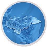 Honduras Country 3d Render Topographic Map Blue Border Round Beach Towel