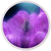 Honey Bee In Rhododenron Round Beach Towel