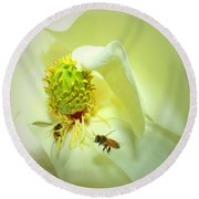 Honey Bees And Magnolia II Round Beach Towel
