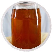 Honey In Clear Glass Jar Round Beach Towel