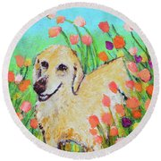 Honey In The Flower Fields Round Beach Towel