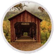 Honey Run Covered Bridge In Autumn Round Beach Towel