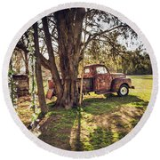 Honey, Under The Cedar Tree Round Beach Towel