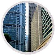 Hong Kong Architecture 49 Round Beach Towel