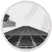 Hong Kong Building Black And White Round Beach Towel