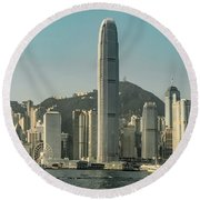Hong Kong - Downtown Waterfront Round Beach Towel by Mark Forte