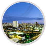 Honolulu City Lights Round Beach Towel