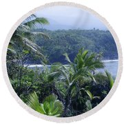 Honomaele Near Mokulehua At Hale O Piilani Heiau Hana Maui Hawaii Round Beach Towel