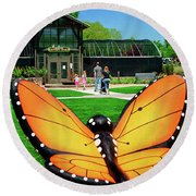 Honor Heights Butterfly House Round Beach Towel
