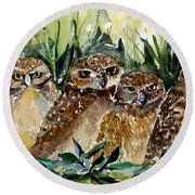 Hoo Is Looking At Me? Round Beach Towel