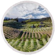 Hood River Pear Orchards On A Cloudy Day Round Beach Towel