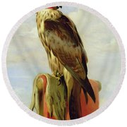 Hooded Falcon Round Beach Towel by Sir Edwin Landseer