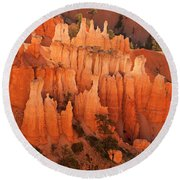 Hoodoos At Sunrise Bryce Canyon National Park Utah Round Beach Towel