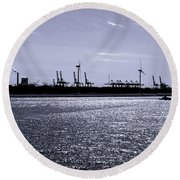 Hook Of Holland Shipping Canal Round Beach Towel