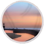 Hook Pier Lighthouse - Chicago Round Beach Towel