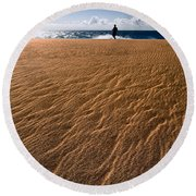 Ho'okahi - A Stroll Along A Beach Round Beach Towel