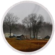 Hooker Road In The Fog 1 Round Beach Towel