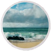 Hookipa Beach Pacific Ocean Waves Maui Hawaii Round Beach Towel