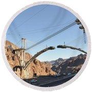 Hoover Dam Bypass Highway Under Construction Round Beach Towel