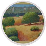 Hoover Tower In Sight Round Beach Towel