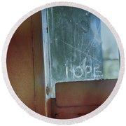 Hope In Prison Door Round Beach Towel