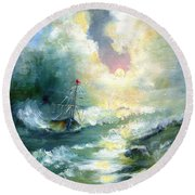 Hope In The Storm I Round Beach Towel