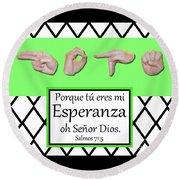 Hope Spanish - Bw Graphic Round Beach Towel